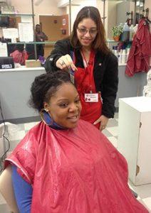 Katherine doing hair