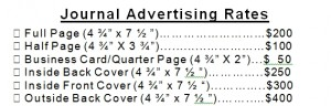 rates for journal ad
