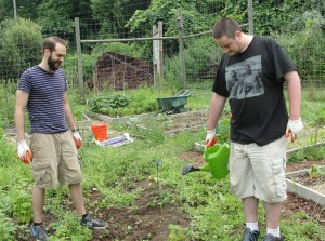 Dave and Artie watering at Tilly